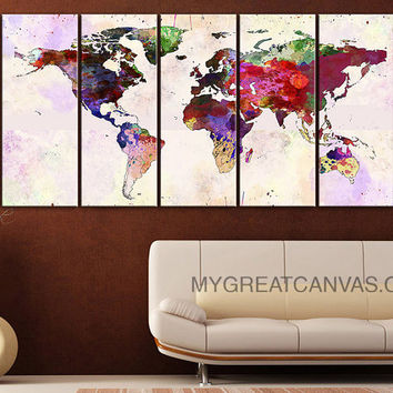 Canvas Print Colorful World Map - Paint Splash World Map Framed Giclee Map Canvas - Ready to Hang