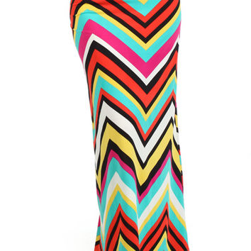Printed Maxi Skirt - Red/Teal