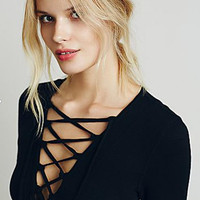 Plus Size Lace Up Causal Long Sleeve Shirt
