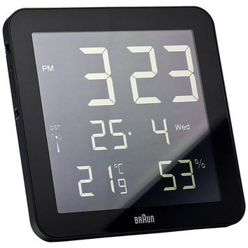Braun: Square Digital Wall Clock - Black (BN-C014-RS-BK)