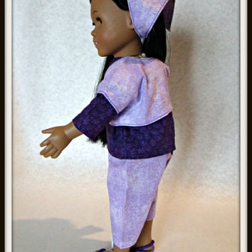 "Purple & Lavender Capri Pant Suit with Bolero Jacket and Headband; made to fit the American Girl Style 18"" Dolls!"