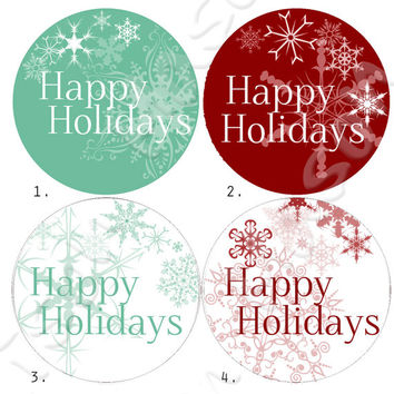 "Happy Holidays or Christmas Labels for Gift Tags / Mason Jars - 2"" & 2.5"" round tags"