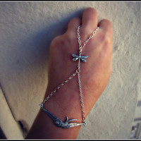 silver bird and dragonfly slave bracelet by alapopjewelry