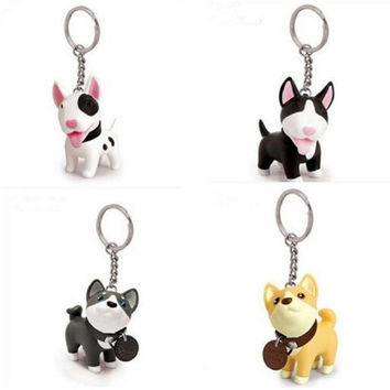 Cute Animal Style Vinyl Toy New Fashion Creative Model Dog Keychain Keyring 4 Styles For Women Girl