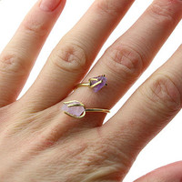 Rough Amethyst Stone Wrap Ring