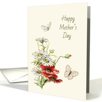 Retro Painting of Flowers and Butterflies for Mother's Day card