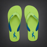 NWT Hollister Men's Classic Flip Flops Green Size M Medium. Great Deal!