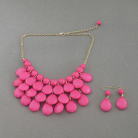 Rose - New Fashion Water Drops Teardrop Bib Necklace and Earrings Set ,Bubble Bib Statement holiday party wedding Necklace,bridesmaid gift