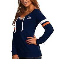 Denver Broncos Antigua Women's Foxy Lace-Up Sweatshirt – Navy Blue