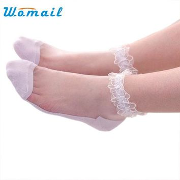 DKF4S Womail Women Lace Ruffle Ankle Sock Soft Ultrathin Elastic Mesh Trim Transparent Socks meias 2017  Gift 1pair