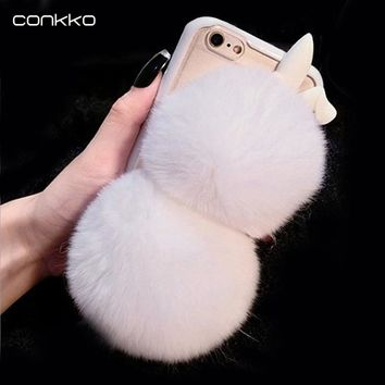 Women's fashion rabbit fur phone case for Apple iPhone 4 5 5s 6 6s plus Case Handmade cute candy color plush case Real fur cover