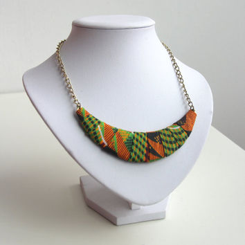 African Kente Wrapped Necklace