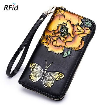 Wallet Female Coin Purses Women's Handbag Genuine Leather Handy Bags Clutch RFid Card Holder Lxury Brand Flora Butterfly Fashion