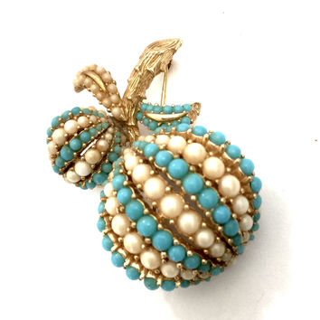 Ciner Berry Brooch, Rows of Tiny Turquoise & Faux Pearl Beads, Textured Gold Tone Metal, Dimensional Design, Vintage Figural, Signed