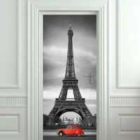 "Door STICKER Eiffel Tower Red Car Paris mural decole film self-adhesive poster 30x79""(77x200 cm)"