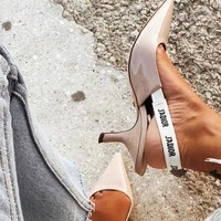 """Hot Sale """"Dior"""" New Fashion Women Personality Pumps High Heel Sandals Shoes Apricot I-ALS-XZ"""