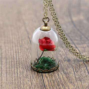 2016 New Arrival Antique Bronze Rose Flower Glass Wish Bottle Necklace For Women Ladies Handmade Green Flower Necklace 620242