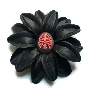 Black Summer flower with Rib Cage hair clip