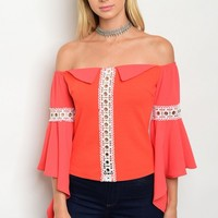 S12-9-2-T6886 ORANGE WHITE OFF SHOULDER TOP 2-2-2