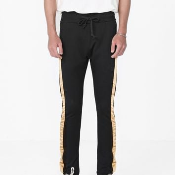 Dusted Gold Satin Stripe Sweatpants