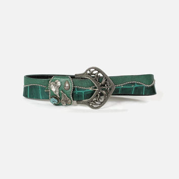 Vintage 80s LEATHEROCK Belt / 1980s Wide Green Studded Crocodile Embossed Snake Belt