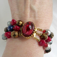 Hattie Carnegie Bracelet, Vintage 1950s Glass, Faceted Three Strand Beads Bracelet