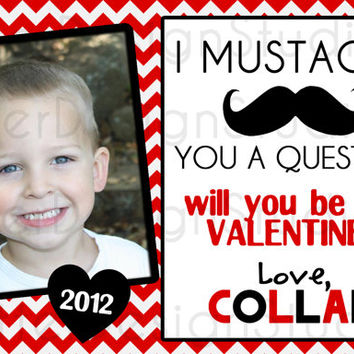 Mustache You A Question Personalized Valentines Day Card - Printable