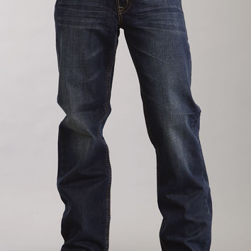 Stetson Mens Stetson Modern Fit Jeans Very Dark Navy Wash W/contrast Back Pk