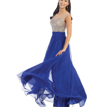 Embellished Sheer Bodice Blue Gown 2015 Prom Dresses