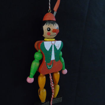 Pinocchio Puppet Vintage M. Gschnitzer Wooden Pull String  Jumping Jack Christmas Ornament Made in Austria