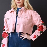 Distressed Floral Embroidery Crop Denim Jacket