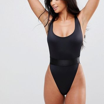 ASOS PETITE High Leg Elastic Waist Swimsuit at asos.com