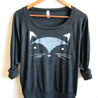 Geo Cat HAND STENCILED Slouchy Eco Heather Deep Scoop Neck Lightweight Sweatshirt in Heather Black - S M L