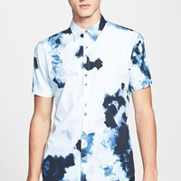 Men's PS Paul Smith Slim Fit Painted Print Short Sleeve Sport Shirt