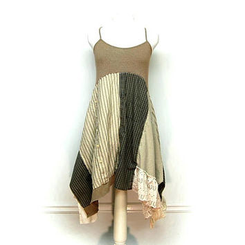 Shabby Chic Dress, Boho Sundress, Hippie Dress, Artsy Clothing, Boho Chic Dress, Country Chic Dress, Upcycled Clothing by Primitive Fringe