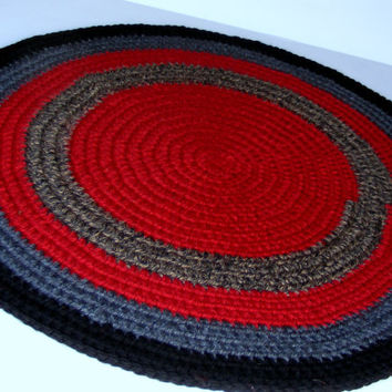 Crochet Rag Rug, Handmade Area Rug or Pet Bed Round in Deep Fall Shades of Red, Grey and Black