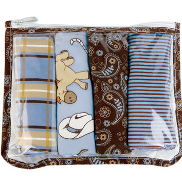 Cowboy Zipper Pouch And 4 Burp Cloths