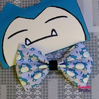 Pokemon Snorlax Hair bow / Bow tie handmade kawaii geeky anime gamer Fabric Bow