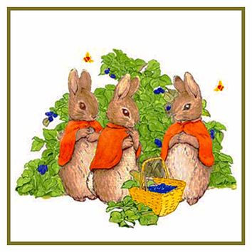 Bunny Rabbits Pick Berries inspired by Beatrix Potter Counted Cross Stitch or Counted Needlepoint Pattern