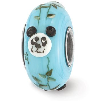 Fenton Blue Hand Painted Panda Face Glass & Sterling Silver Charm