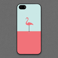 iPhone 5 / 5s case - A flamingo / pink on mint- iPhone Case, iPhone 5 Case, Cases for iPhone 5 IPHONE 5