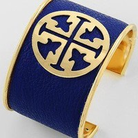 Montana blue leatherette cuff bracelet cross