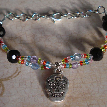 Sugar Skull Bracelet Double Beaded - Multicolored - Halloween - Day of the Dead - Dia de los muertos - Holiday - Fall - Christmas - skull