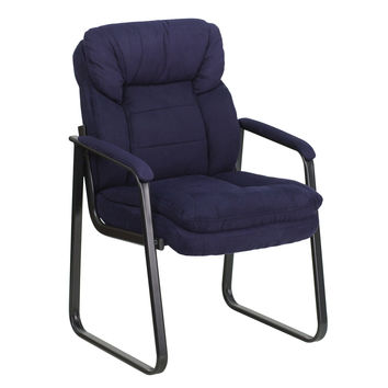 Flash Furniture Navy Microfiber Executive Side Chair with Sled Base [GO-1156-NVY-GG]