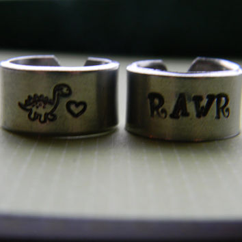 RAWR means I love you in dinosaur , BFF, significant other, beloved one, sisters,daughter, mother, brother, set of two aluminum rings