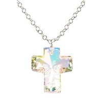 Sterling Silver Chain with Swarovski Elements Cross Pendant Necklace, 24""