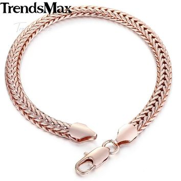 585 Rose Gold Filled Men's Bracelet for Women Foxtail Link Chain 6mm 20cm 23cm GB254