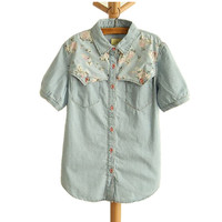 Sweet Floral Print Denim Shirt/Blouse