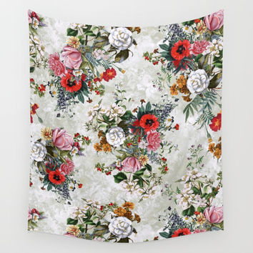 Botanical Flowers IV Wall Tapestry by RIZA PEKER