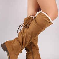 Suede Tassel Lace-Up Fur Cuff Riding Knee High Boots